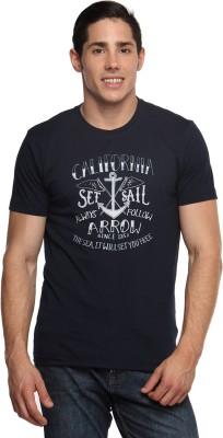 Arrow Sport Printed Men's Round Neck Blue T-Shirt
