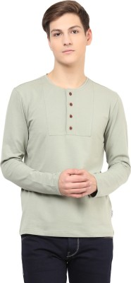 Atorse Solid Men's Round Neck Green T-Shirt