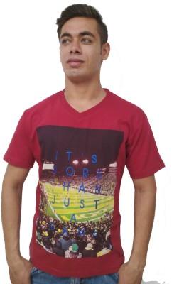 Port Blair Printed Men's V-neck Red T-Shirt