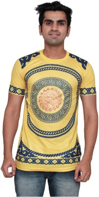 DDI Printed Men's Round Neck Yellow T-Shirt