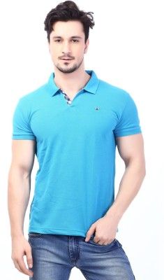 Rugby Solid Men's Polo Neck Light Blue T-Shirt