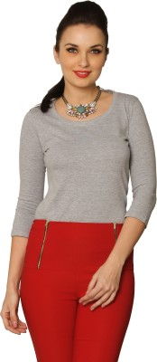 Miss Chase Solid Women's Round Neck Grey T-Shirt