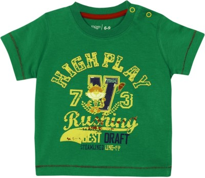 Mom & Me Printed Baby Boy's Round Neck Green T-Shirt