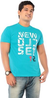 Ebry Printed Men's Round Neck Light Blue T-Shirt