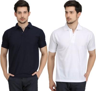 Krazy Katz Solid Men's Polo Neck Dark Blue, White T-Shirt