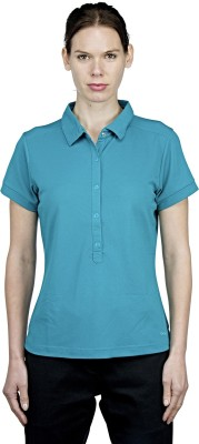 Craghoppers Solid Women's Polo Neck Blue T-Shirt