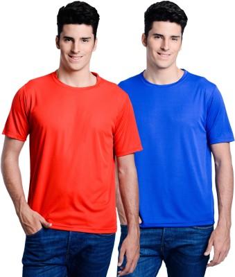 Superjoy Solid Men's Round Neck Blue, Red T-Shirt