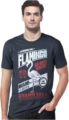 Gallop Printed Men's Round Neck Grey T-Shirt