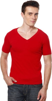 Casual Tees Solid Men's V-neck Red T-Shirt
