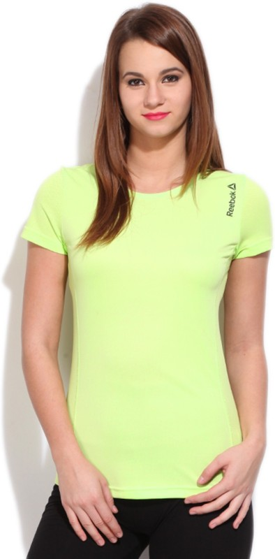 Reebok Solid Women's Round Neck Green T-shirt