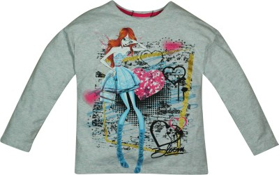 Winx Club Printed Girl's Round Neck Grey T-Shirt