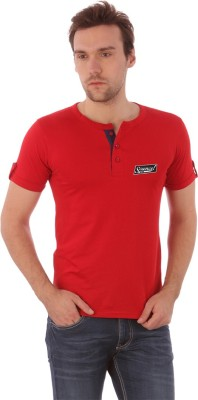 Campus Sutra Solid Men's Henley Red T-Shirt