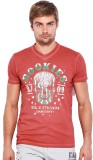 Rookies Printed Men's V-neck Pink T-Shir...