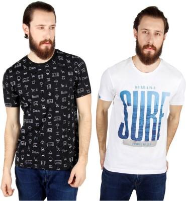 Threads & Pals Printed Men's Round Neck Black, White T-Shirt