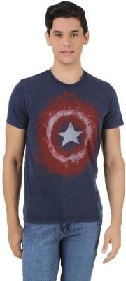 Captain America Printed Men's Round Neck Dark Blue T-Shirt