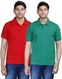Fleximaa Solid Men's Polo Neck Red, Gree...