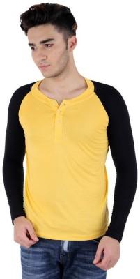 Bigidea Solid Men's Henley Yellow, Black T-Shirt