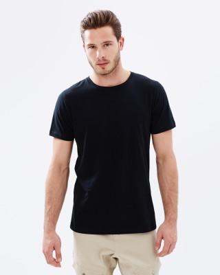 Thedstore Solid Men's Round Neck Black T-Shirt