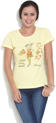 ESPRESSO Printed Women's Round Neck Yellow T-Shirt