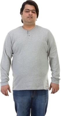 BIGBANANA Solid Men's Henley Grey T-Shirt