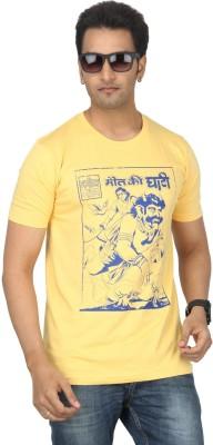 Bandarwalla Graphic Print Men,s Round Neck Yellow T-Shirt