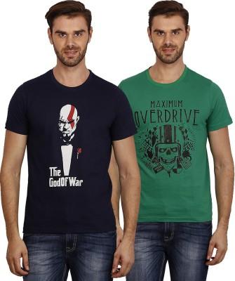 Crush on Craze Printed Men's Round Neck Dark Blue, Green T-Shirt