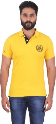 urbantouch Solid Men's Polo Neck Yellow T-Shirt