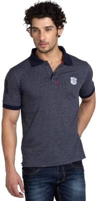 Klub Fox Self Design Men's Polo Neck Dark Blue T-Shirt