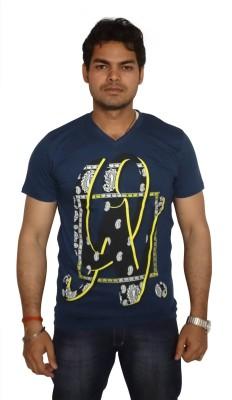 Burnout Printed Men's V-neck T-Shirt
