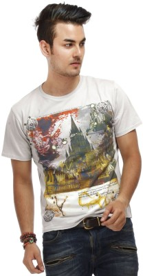 Chlorophile Printed Men's Round Neck Grey T-Shirt