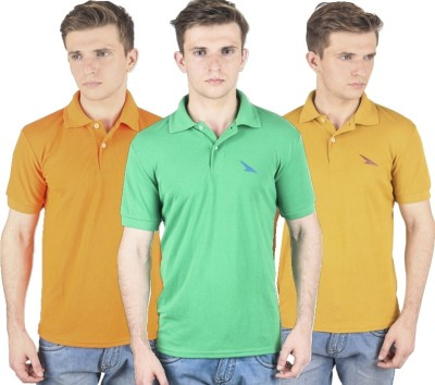 PRO Lapes Solid Men's Polo Neck Orange, Yellow, Green T-Shirt