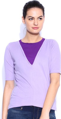 Le Bison Solid Women's Round Neck Purple T-Shirt
