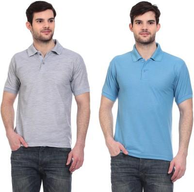 Blue-Tuff Solid Men,s Polo Neck Grey, Light Blue T-Shirt