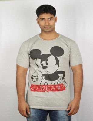 Mr Sha Printed Men's Round Neck Grey T-Shirt