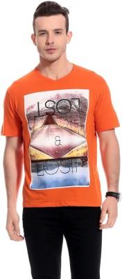 TAB91 Graphic Print Men's Round Neck Orange T-Shirt