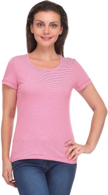 V2k Fashion Striped Women's Round Neck Pink T-Shirt