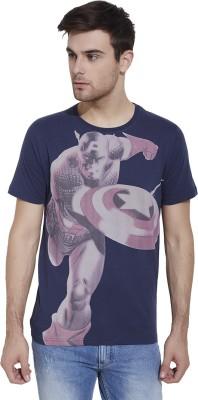 Slub By INMARK Printed Men's Round Neck Dark Blue T-Shirt