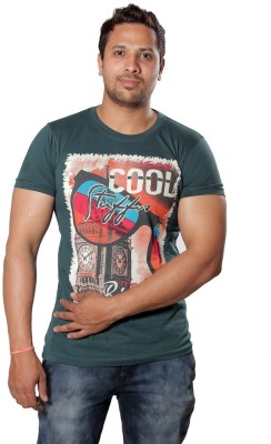 AR Printed Men,s Round Neck Green T-Shirt