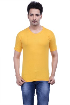 MKM Solid Men's Round Neck Yellow T-Shirt