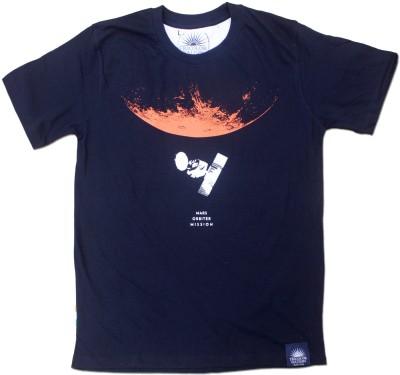 Tricolor Nation Graphic Print Men's Round Neck Blue T-Shirt