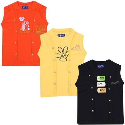 SPN Garments Printed Girl,s Round Neck Orange, Yellow, Black T-Shirt