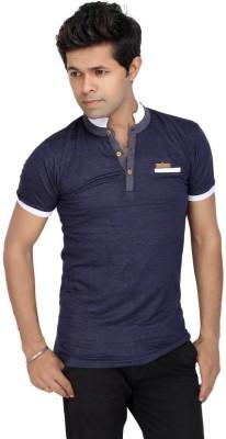JG FORCEMAN Solid Men's Mock Neck Dark Blue T-Shirt