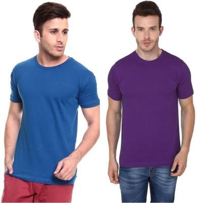Lowcha Solid Men's Round Neck Blue, Purple T-Shirt