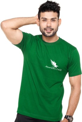 American Cult Solid Men's Round Neck Green T-Shirt