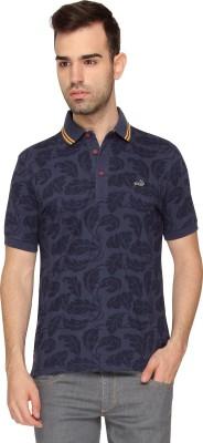 Crocodile Printed Men,s Polo Neck Blue T-Shirt