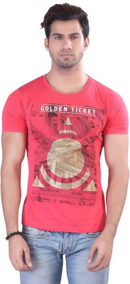 Contrast Graphic Print Men's Round Neck Pink T-Shirt