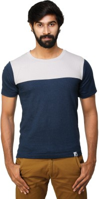 0EM Solid, Polka Print Men's Round Neck Blue, Beige T-Shirt