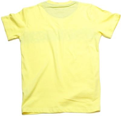 WROGN Printed Boy's Round Neck Yellow T-Shirt