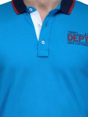 Slingshot Solid Men's Polo Neck Blue T-Shirt