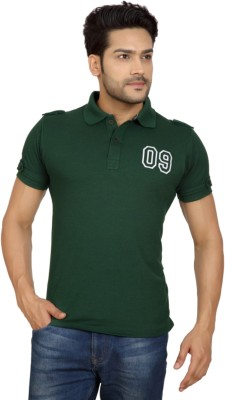 Goplay Solid Men's Polo Neck Green T-Shirt